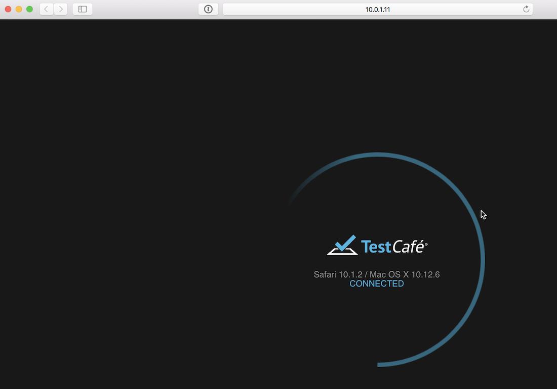 テストを実行すると自動的にブラウザが立ち上がり、テストが始まる。
